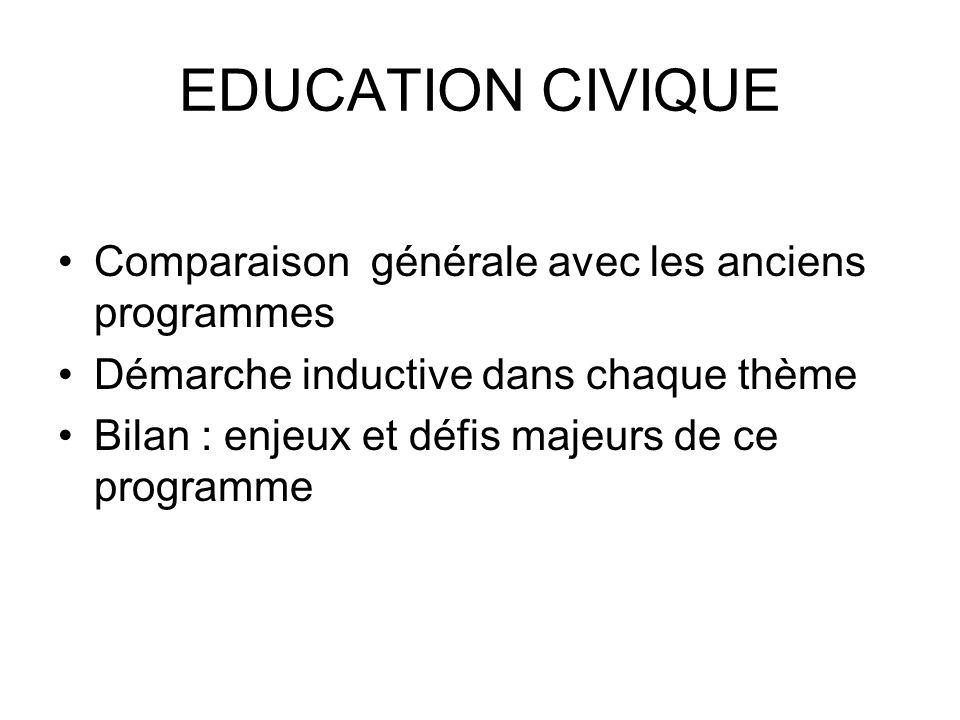 EDUCATION CIVIQUE Comparaison générale avec les anciens programmes