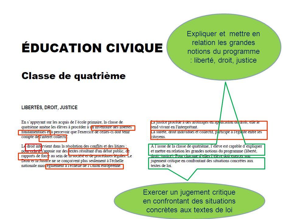Expliquer et mettre en relation les grandes notions du programme : liberté, droit, justice