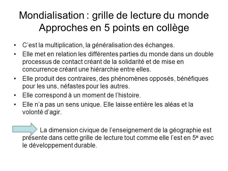 Mondialisation : grille de lecture du monde Approches en 5 points en collège