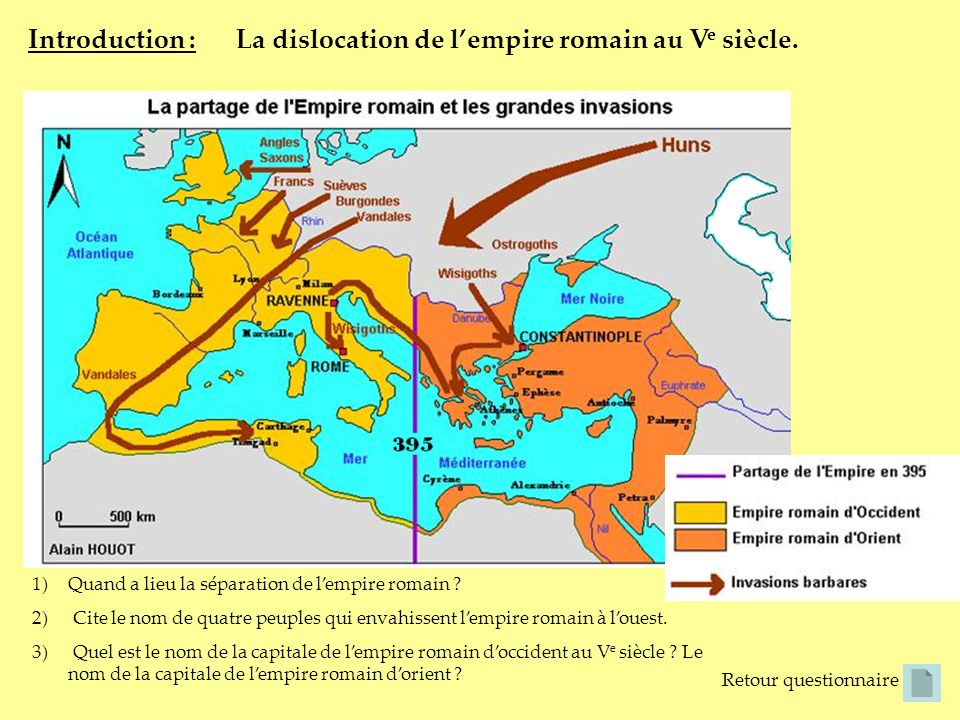 La dislocation de l'empire romain au Ve siècle.