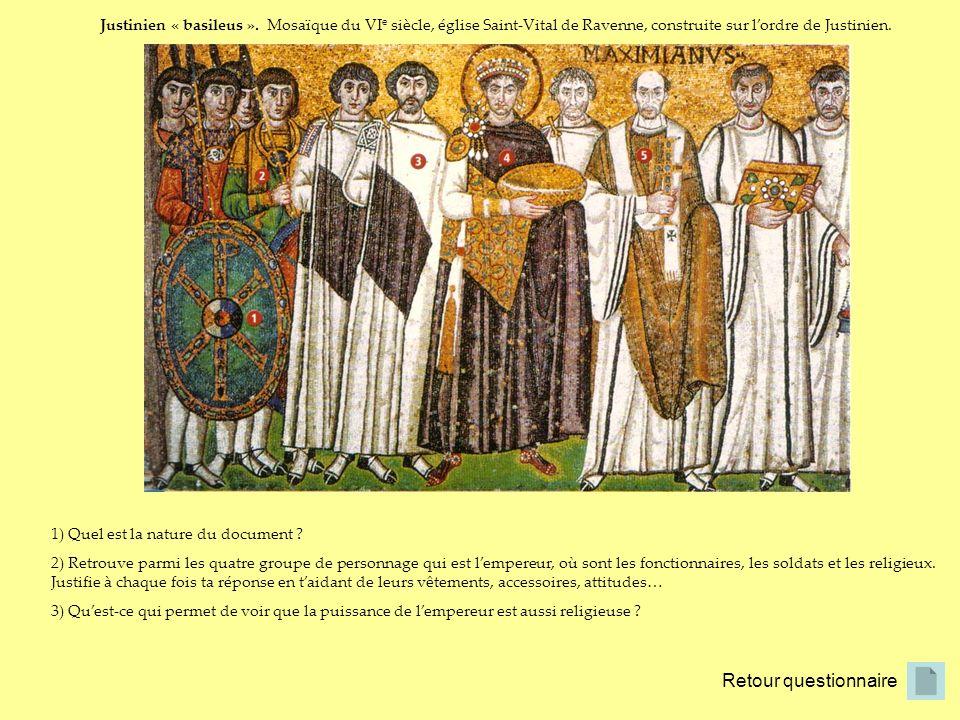 Justinien « basileus ». Mosaïque du VIe siècle, église Saint-Vital de Ravenne, construite sur l'ordre de Justinien.