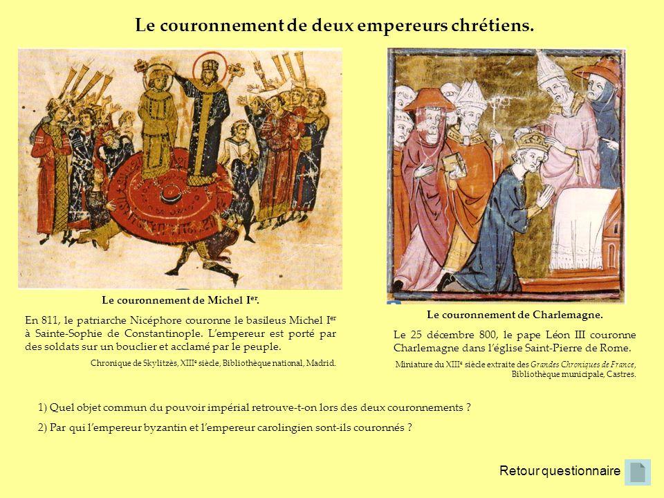 Le couronnement de Michel Ier. Le couronnement de Charlemagne.