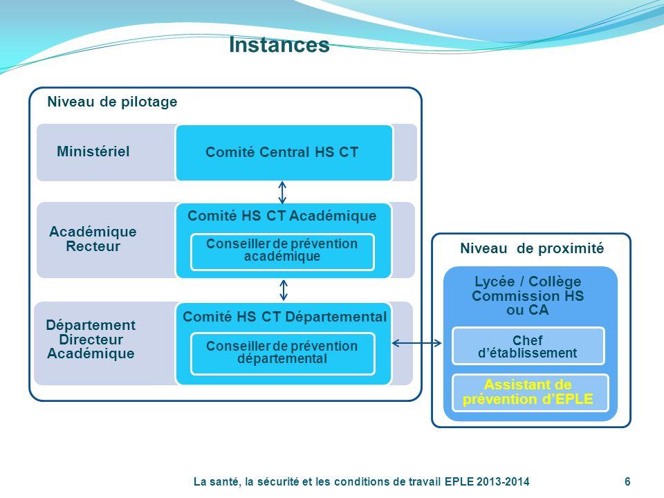 Instances Niveau de pilotage Ministériel Comité Central HS CT