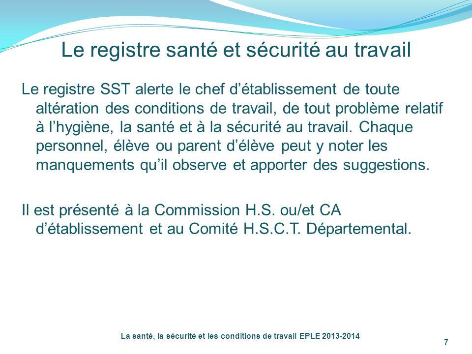 Le registre santé et sécurité au travail