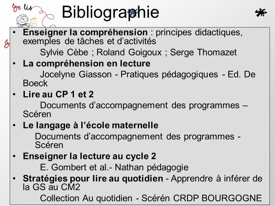 Bibliographie Enseigner la compréhension : principes didactiques, exemples de tâches et d'activités.