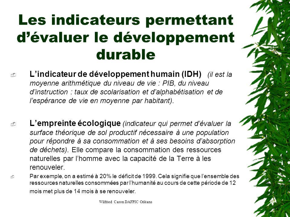 Les indicateurs permettant d'évaluer le développement durable