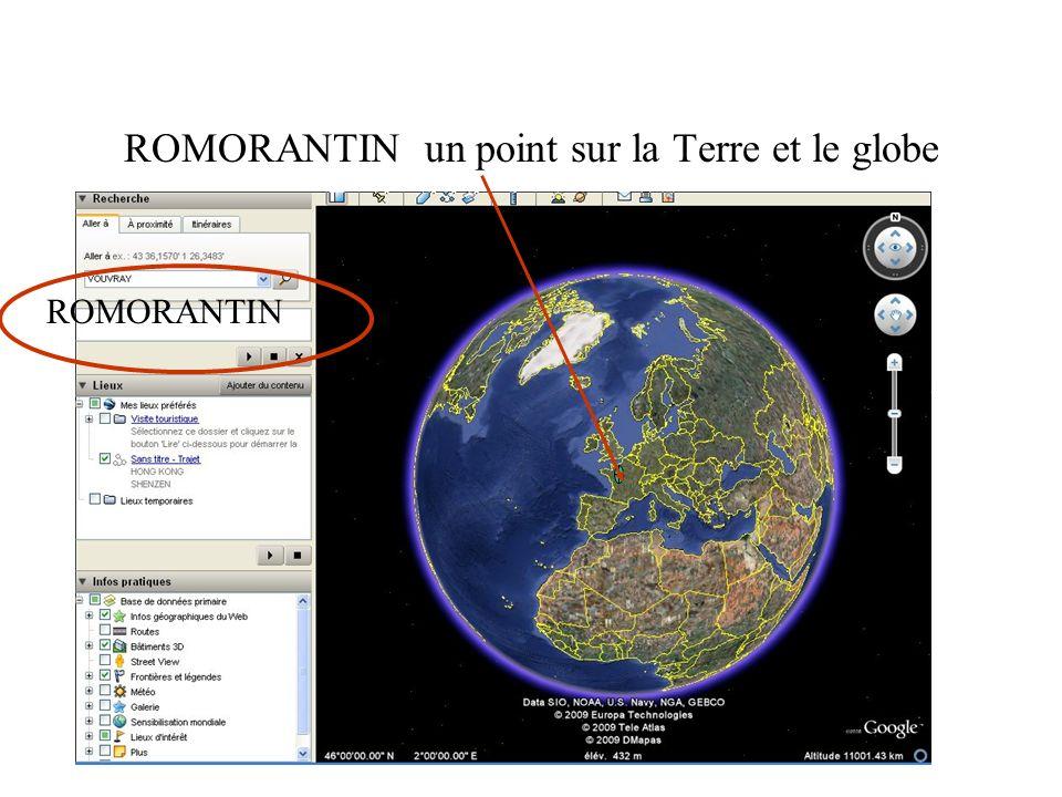 ROMORANTIN un point sur la Terre et le globe