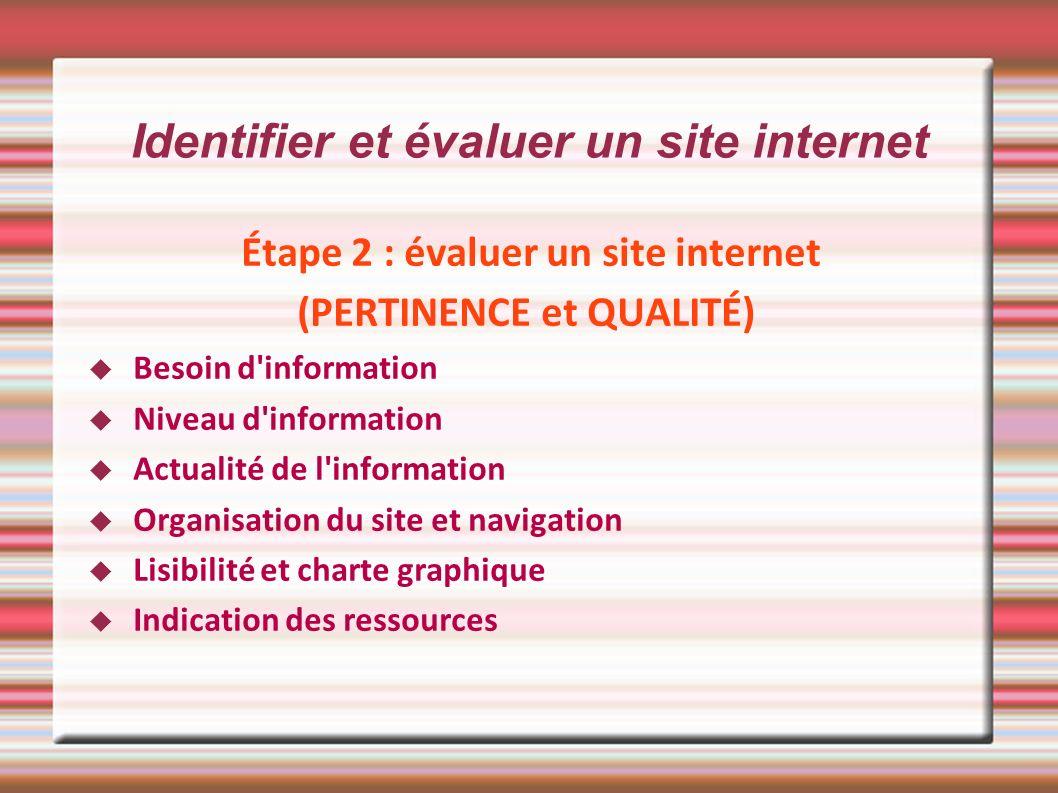 Identifier et évaluer un site internet