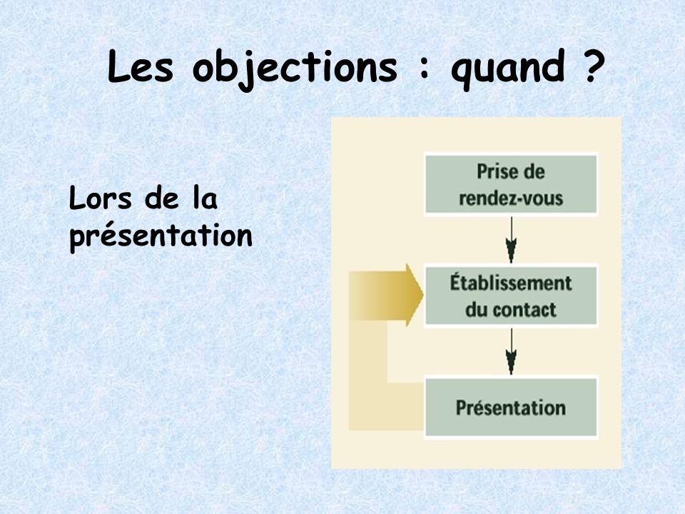 Les objections : quand Lors de la présentation