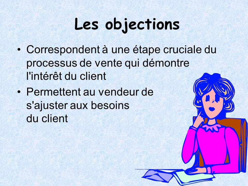 Les objectionsCorrespondent à une étape cruciale du processus de vente qui démontre l intérêt du client.