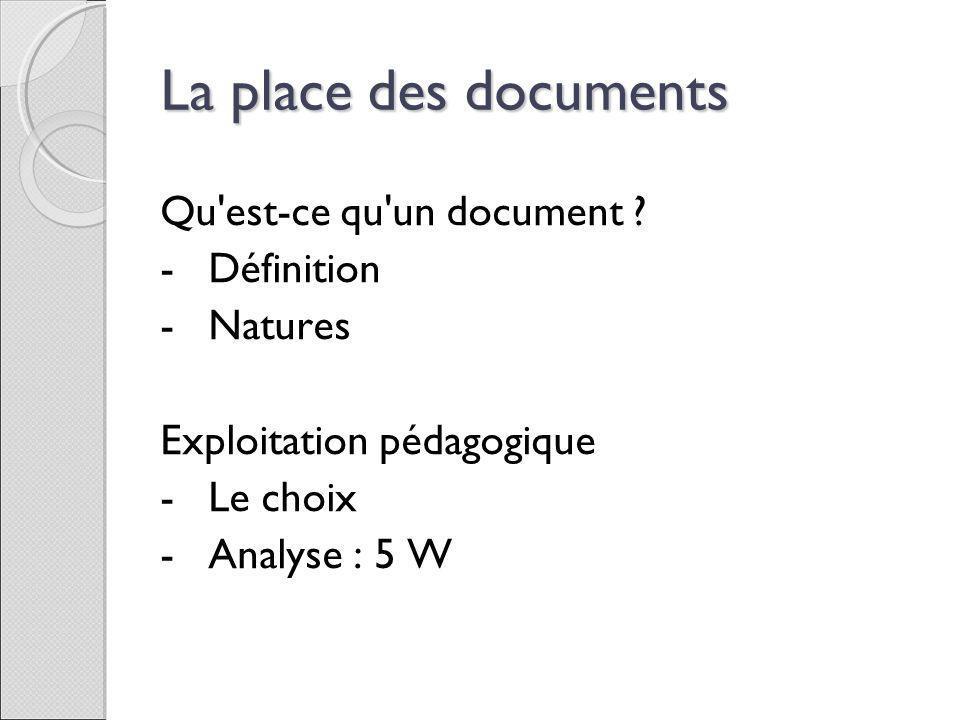 La place des documents Qu est-ce qu un document Définition Natures