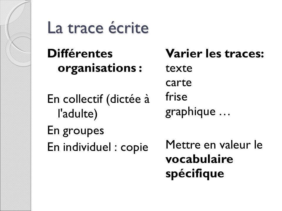 La trace écrite Différentes organisations :