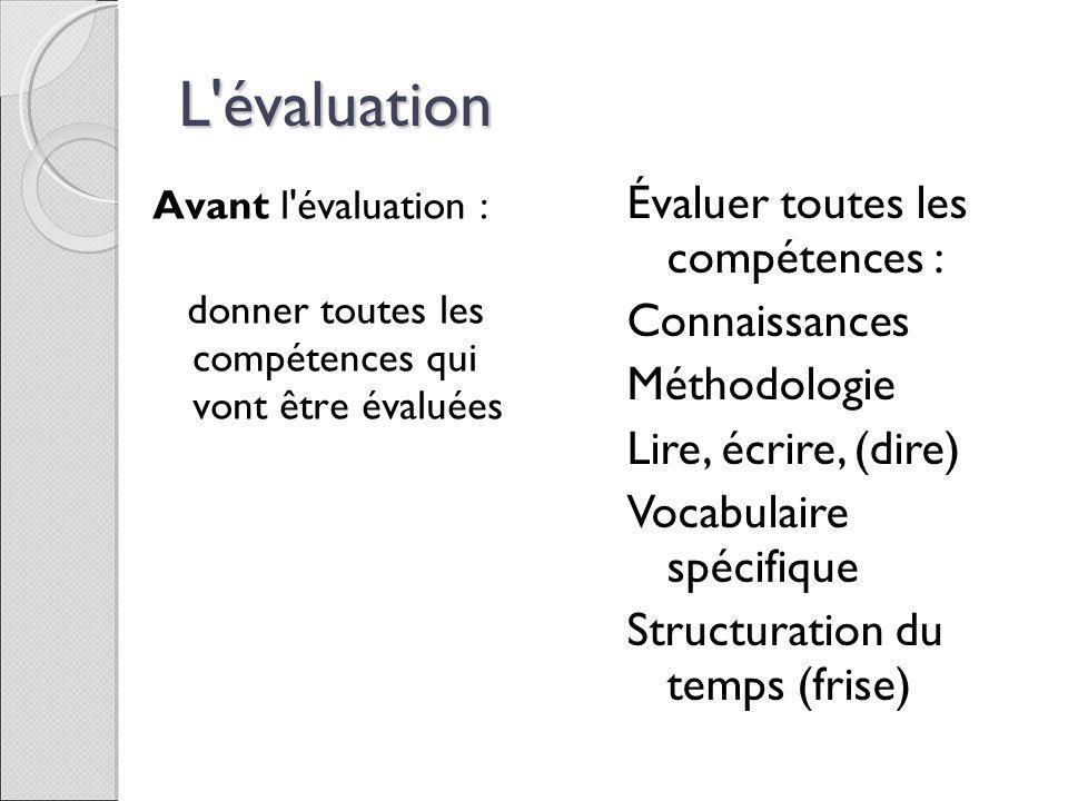 L évaluation Évaluer toutes les compétences : Connaissances