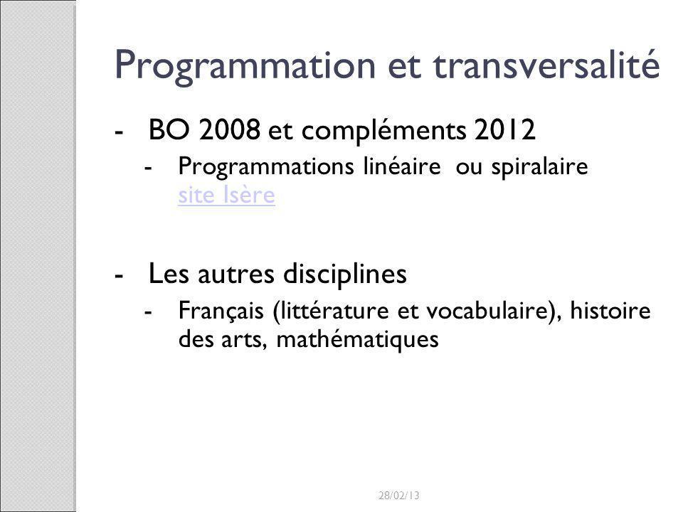Programmation et transversalité