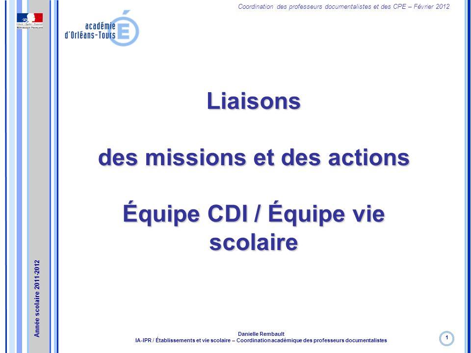 des missions et des actions Équipe CDI / Équipe vie scolaire