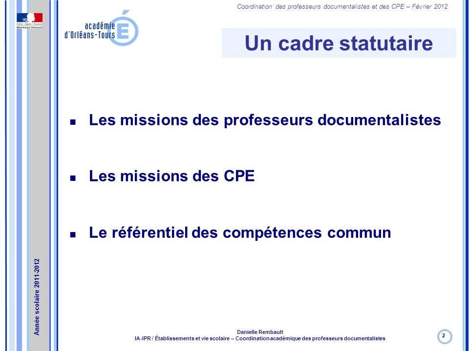 Un cadre statutaire Les missions des professeurs documentalistes