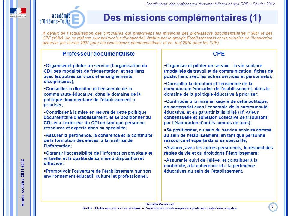 Des missions complémentaires (1) Professeur documentaliste