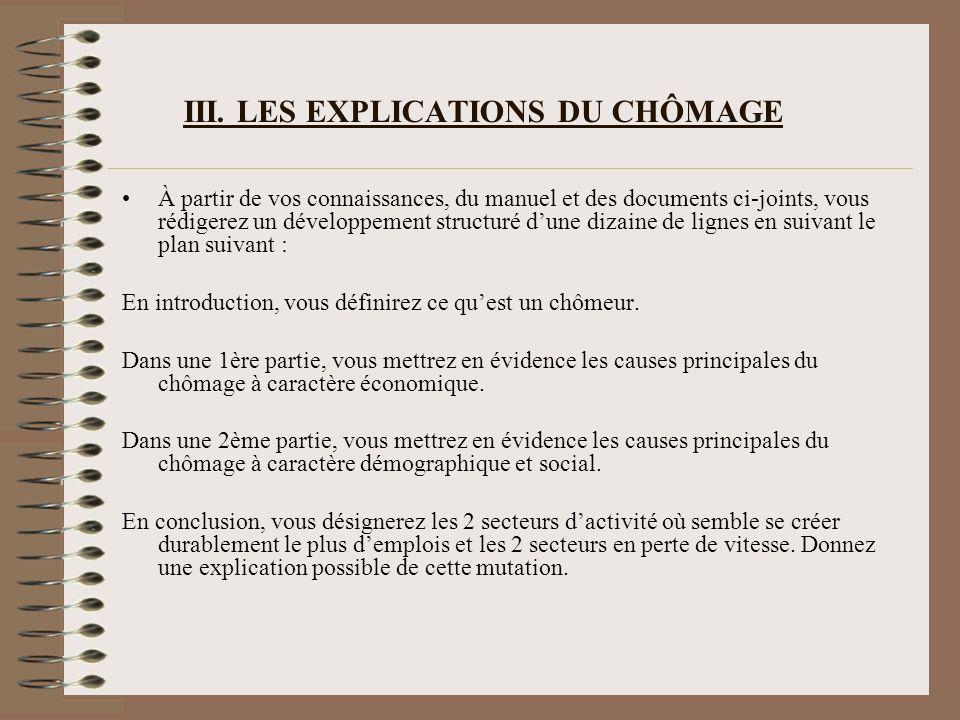III. LES EXPLICATIONS DU CHÔMAGE