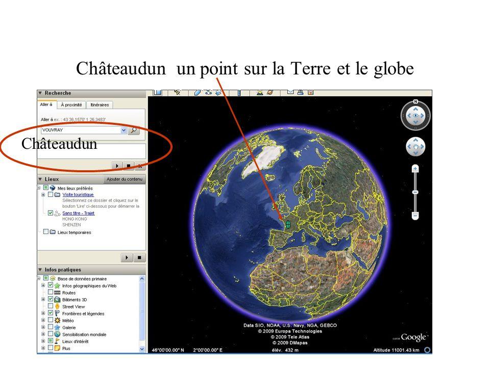 Châteaudun un point sur la Terre et le globe