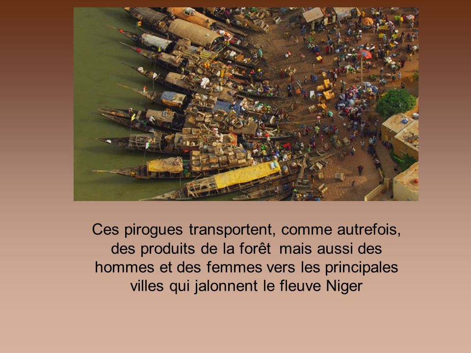 Ces pirogues transportent, comme autrefois, des produits de la forêt mais aussi des hommes et des femmes vers les principales villes qui jalonnent le fleuve Niger