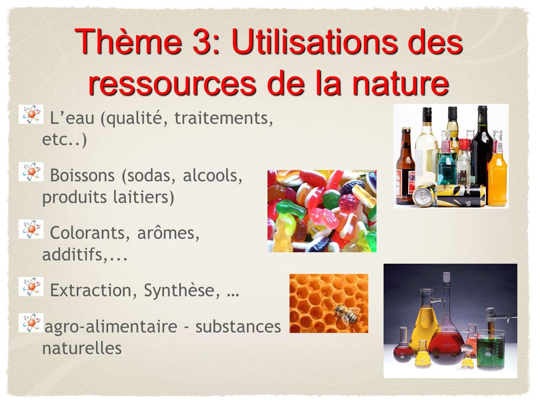 Thème 3: Utilisations des ressources de la nature