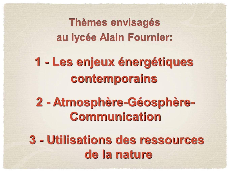 1 - Les enjeux énergétiques contemporains