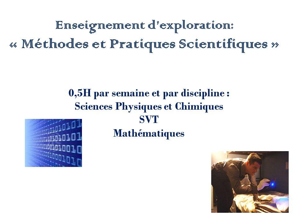 Enseignement d'exploration: « Méthodes et Pratiques Scientifiques »