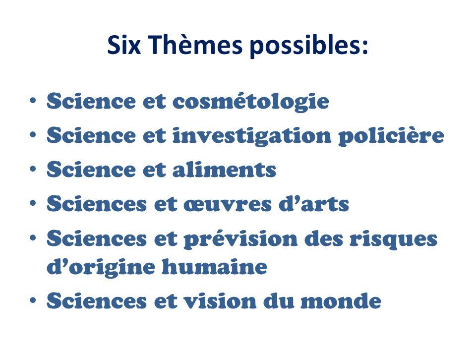 Six Thèmes possibles: Science et cosmétologie