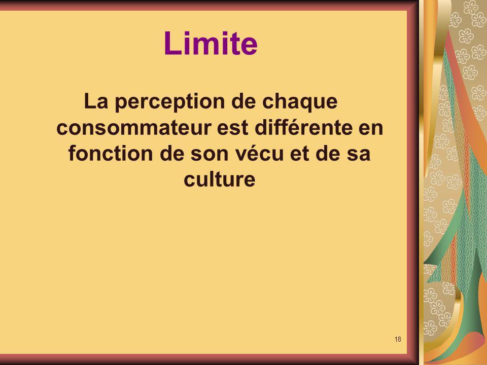 Limite La perception de chaque consommateur est différente en fonction de son vécu et de sa culture