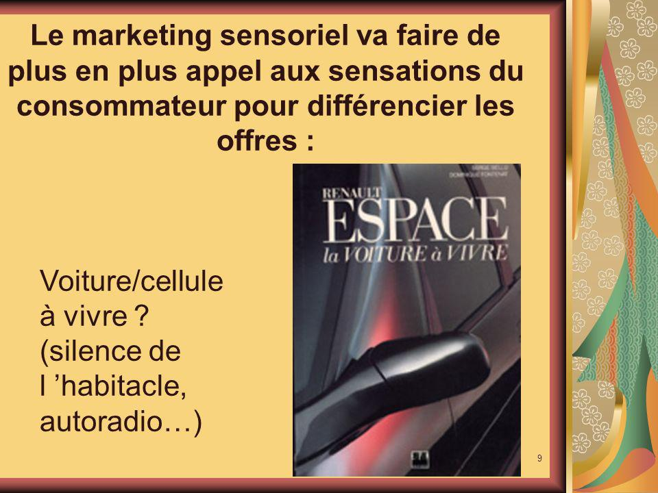 Le marketing sensoriel va faire de plus en plus appel aux sensations du consommateur pour différencier les offres :