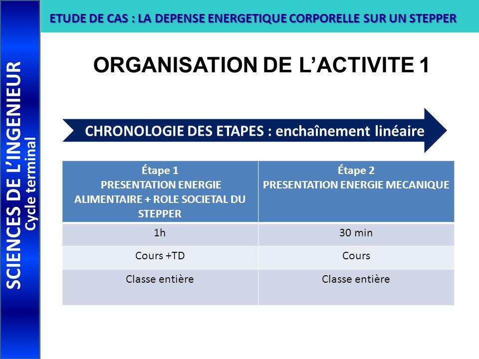 ORGANISATION DE L'ACTIVITE 1