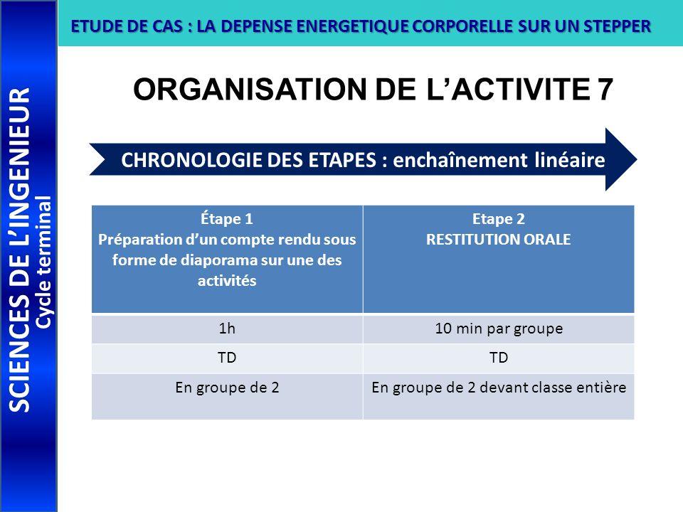 ORGANISATION DE L'ACTIVITE 7