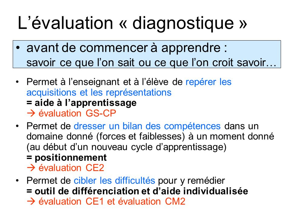 L'évaluation « diagnostique »