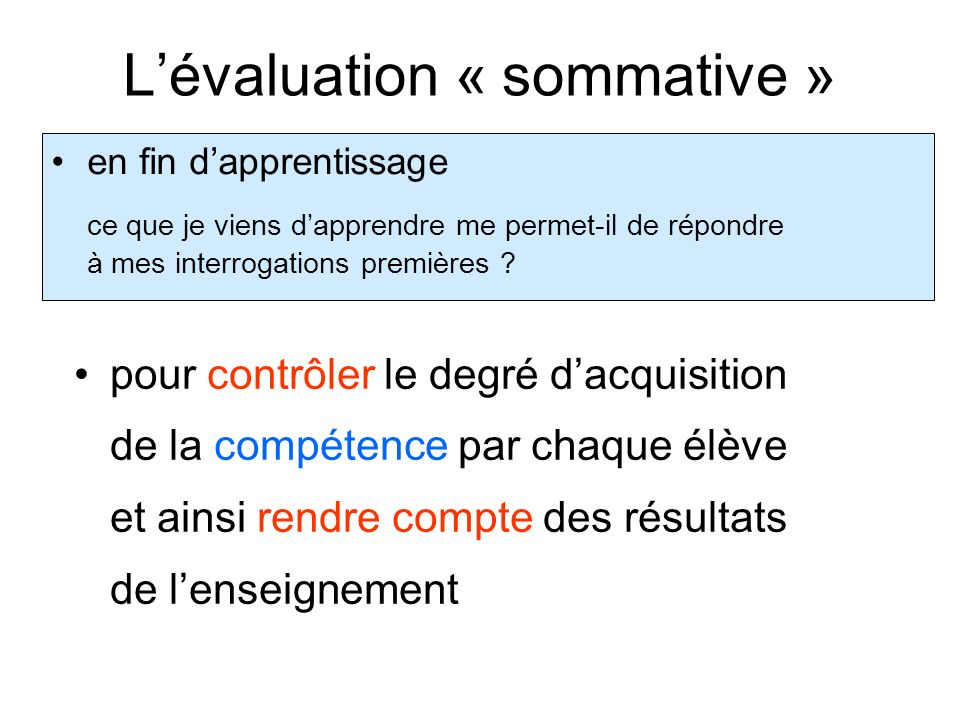 L'évaluation « sommative »