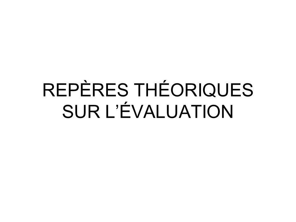 REPÈRES THÉORIQUES SUR L'ÉVALUATION