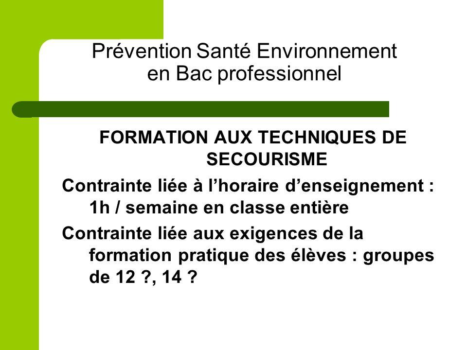 Prévention Santé Environnement en Bac professionnel