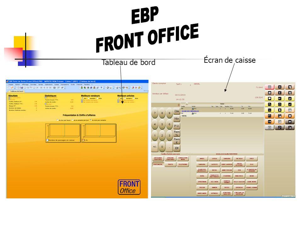 EBP FRONT OFFICE Écran de caisse Tableau de bord