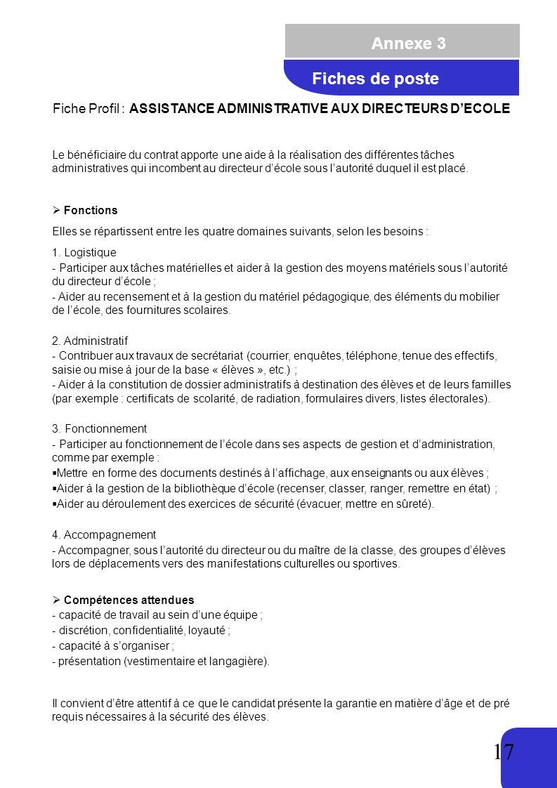 Fiche Profil : ASSISTANCE ADMINISTRATIVE AUX DIRECTEURS D'ECOLE
