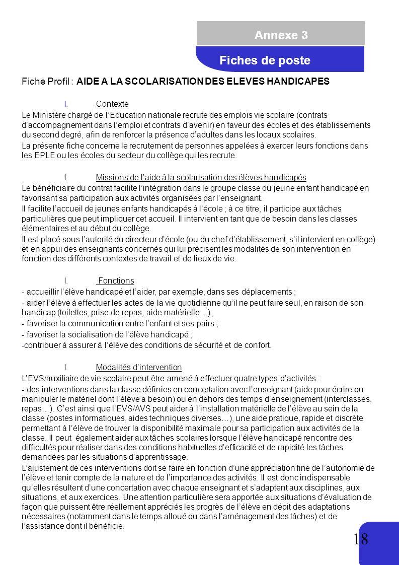 Annexe 3 Fiches de poste. Fiche Profil : AIDE A LA SCOLARISATION DES ELEVES HANDICAPES. Contexte.