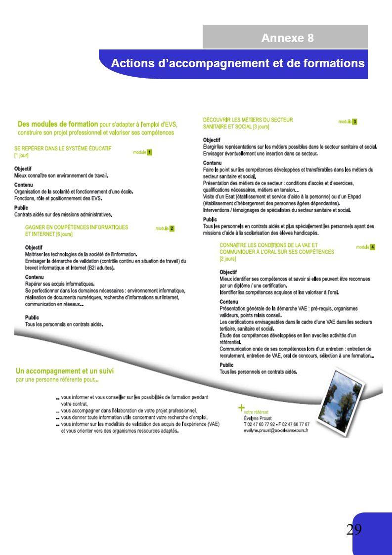 Annexe 8 Actions d'accompagnement et de formations