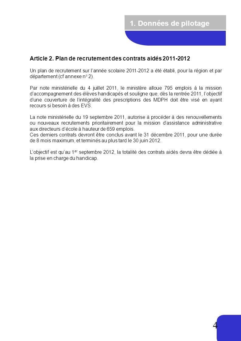 1. Données de pilotage Article 2. Plan de recrutement des contrats aidés 2011-2012.