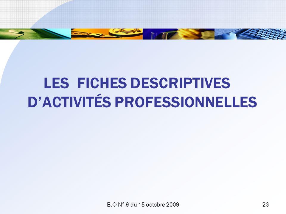 LES FICHES DESCRIPTIVES D'ACTIVITÉS PROFESSIONNELLES