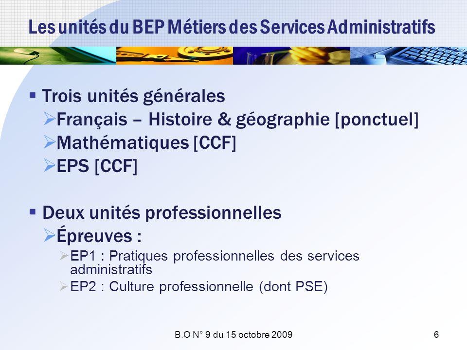 Les unités du BEP Métiers des Services Administratifs