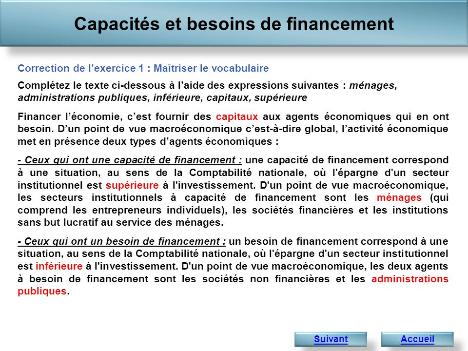 Capacités et besoins de financement