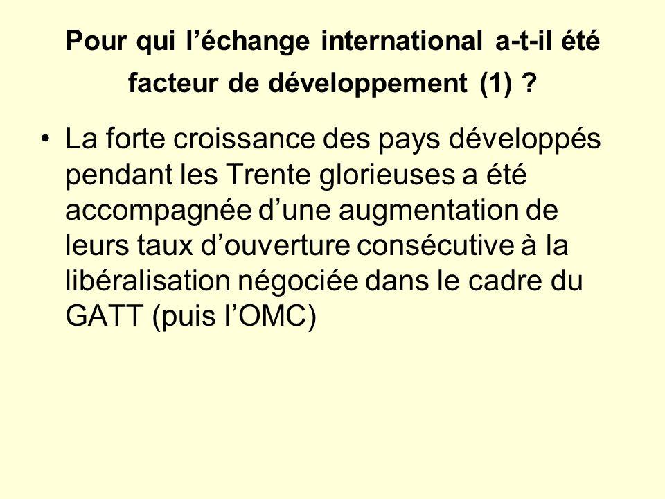 Pour qui l'échange international a-t-il été facteur de développement (1)