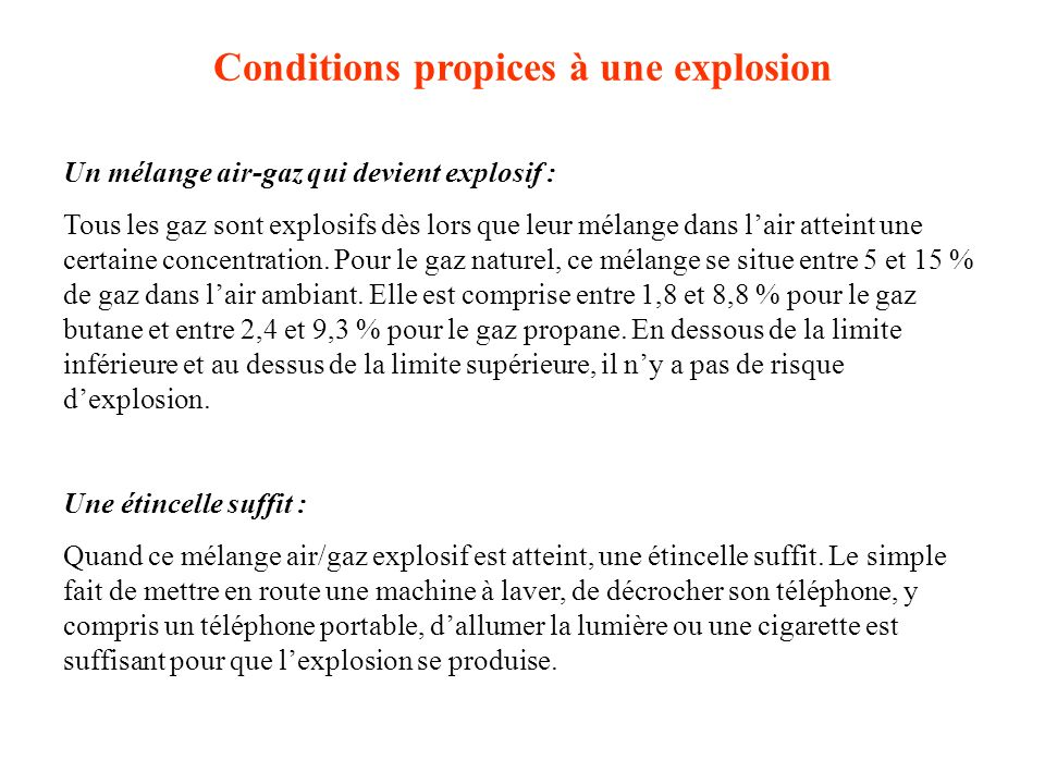 Conditions propices à une explosion