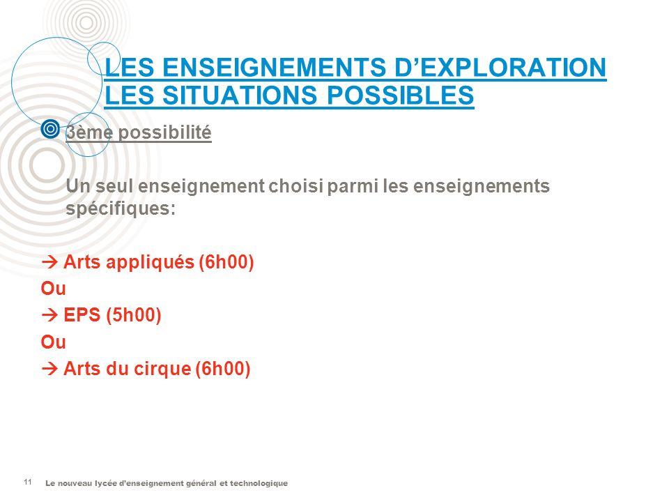 LES ENSEIGNEMENTS D'EXPLORATION LES SITUATIONS POSSIBLES