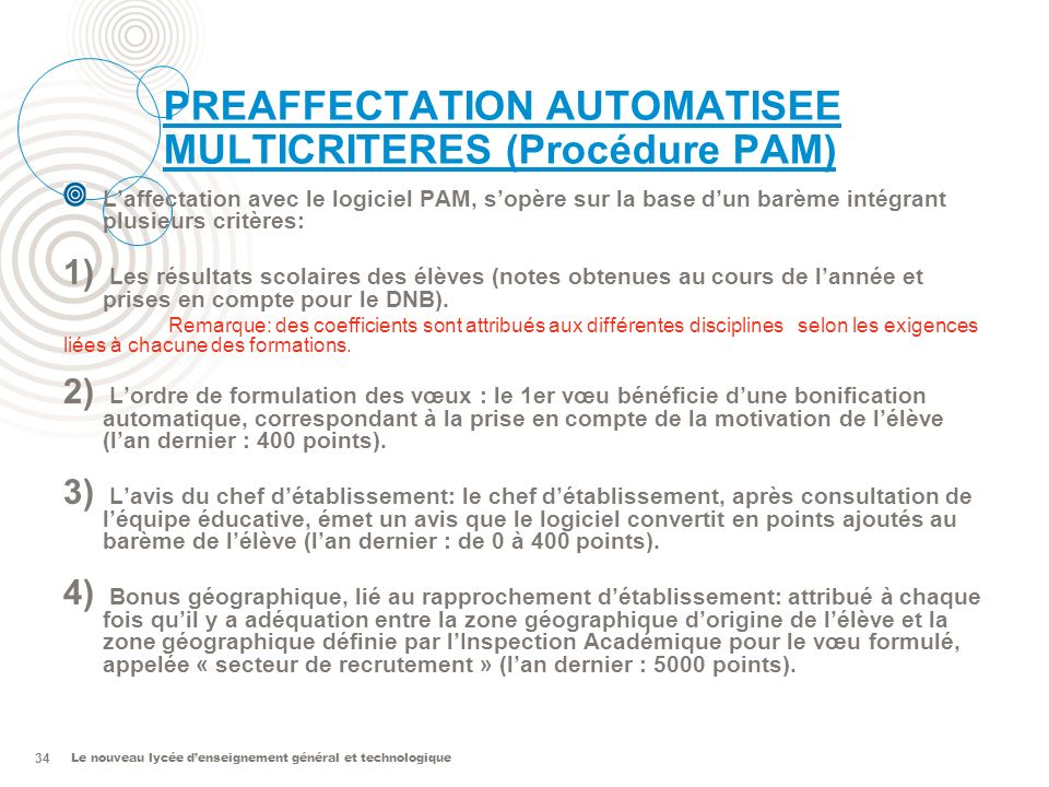 PREAFFECTATION AUTOMATISEE MULTICRITERES (Procédure PAM)