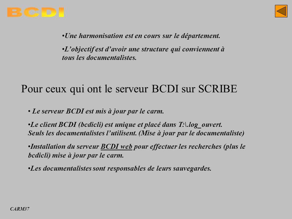 BCDI Pour ceux qui ont le serveur BCDI sur SCRIBE