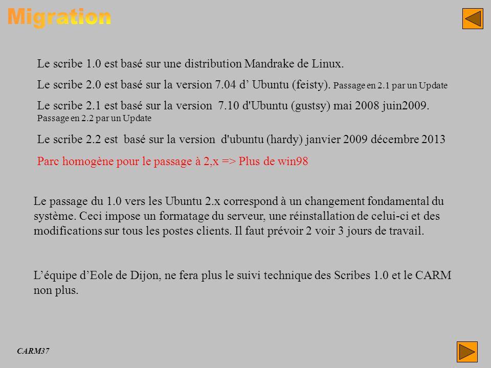 Migration Le scribe 1.0 est basé sur une distribution Mandrake de Linux.